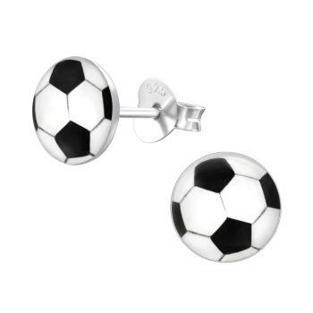 Zilveren kinderoorbellen voetbal zwart wit 7 mm