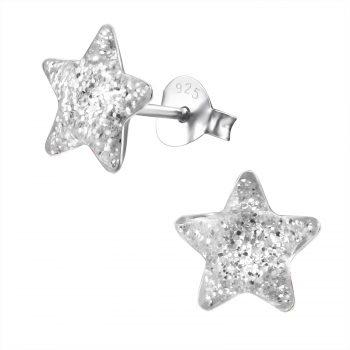 Zilveren oorbellen ster white met glitter