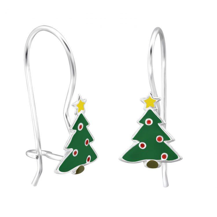 Versierde Kerstboom zilveren oorhangers
