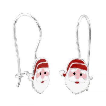 Kerstman rode zilveren oorhangers