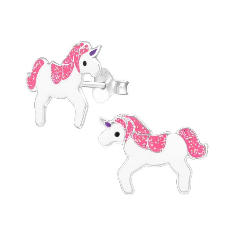 Kinderoorbellen eenhoorn wit-roze glitter kleuren