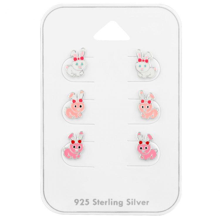 Konijnen oorbellen zilver | voordeelsetje op kaart