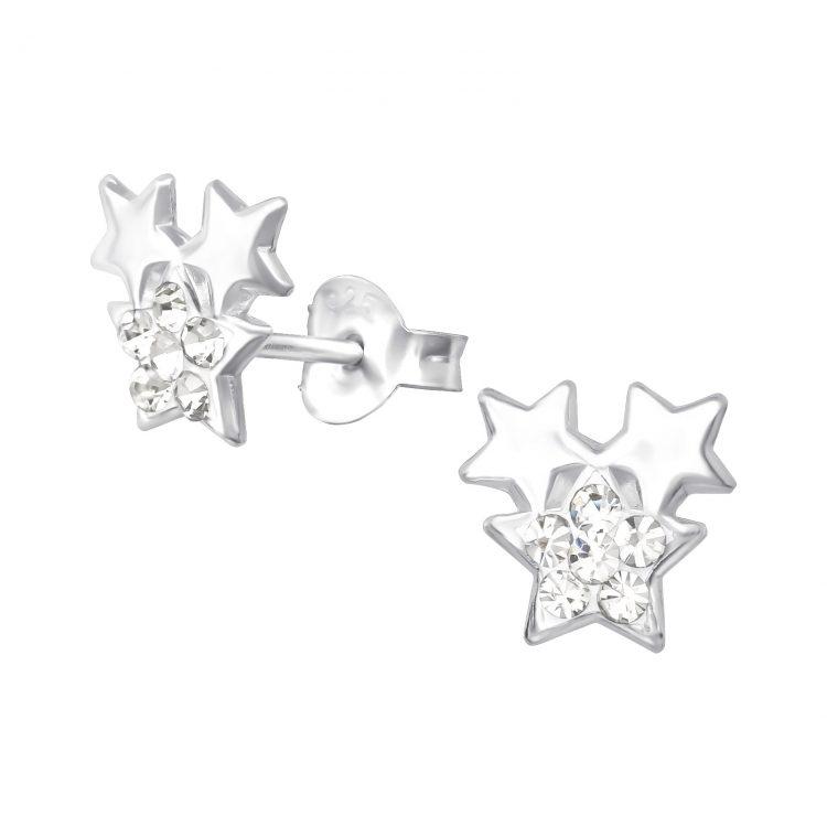 Sterren oorbellen 3 sterren zilver