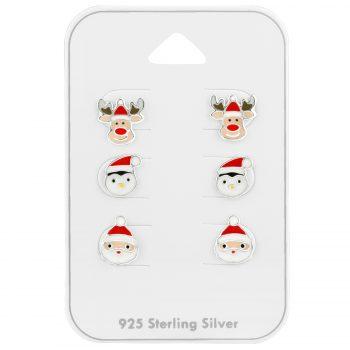 Kerstmuts oorbellen 3 paar op kaartje | voordeel set