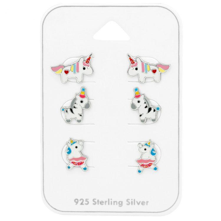 Unicorn oorbellen zilver | voordeelsetje op kaart
