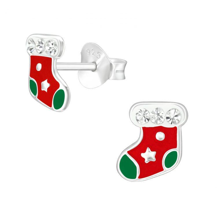 Kerst sok oorbellen met steentjes