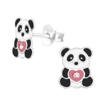 Oorbellen panda beer met hartje