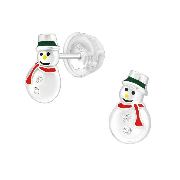 Sneeuwpop oorbellen met zirkonia steentjes