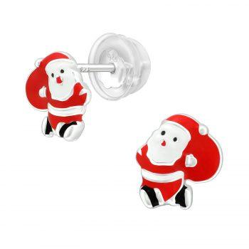 Kerstman rode zilveren oorbellen