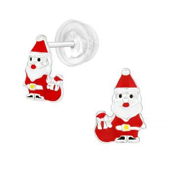 Kerstman met zak zilveren oorbellen