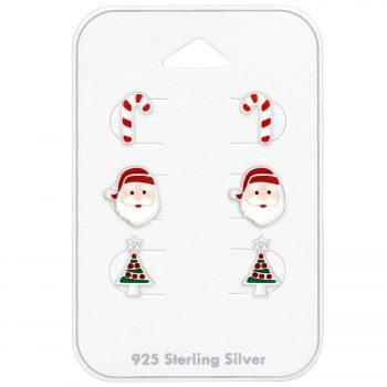 Kerst oorbellen 3 paar op kaartje | voordeel set