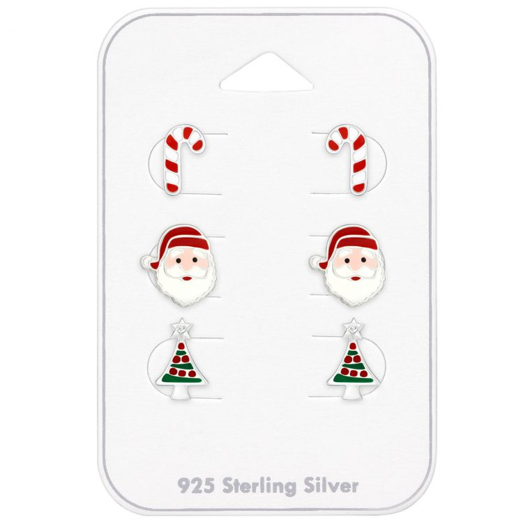 Kerst oorbellen 3 paar op kaartje   voordeel set