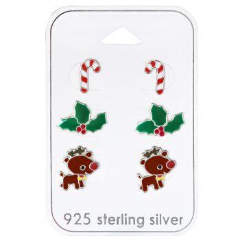 Kerst oorbellen zilver 3 paar op kaartje | voordeel set