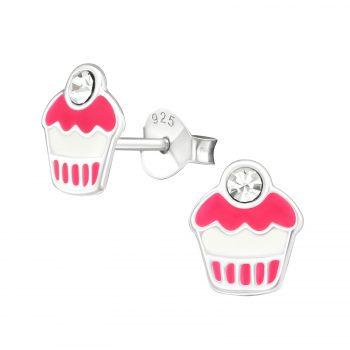 Oorbellen zilveren cupcake roze-witte met kers