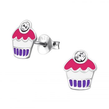 Oorbellen zilveren cupcake roze-paars met kers