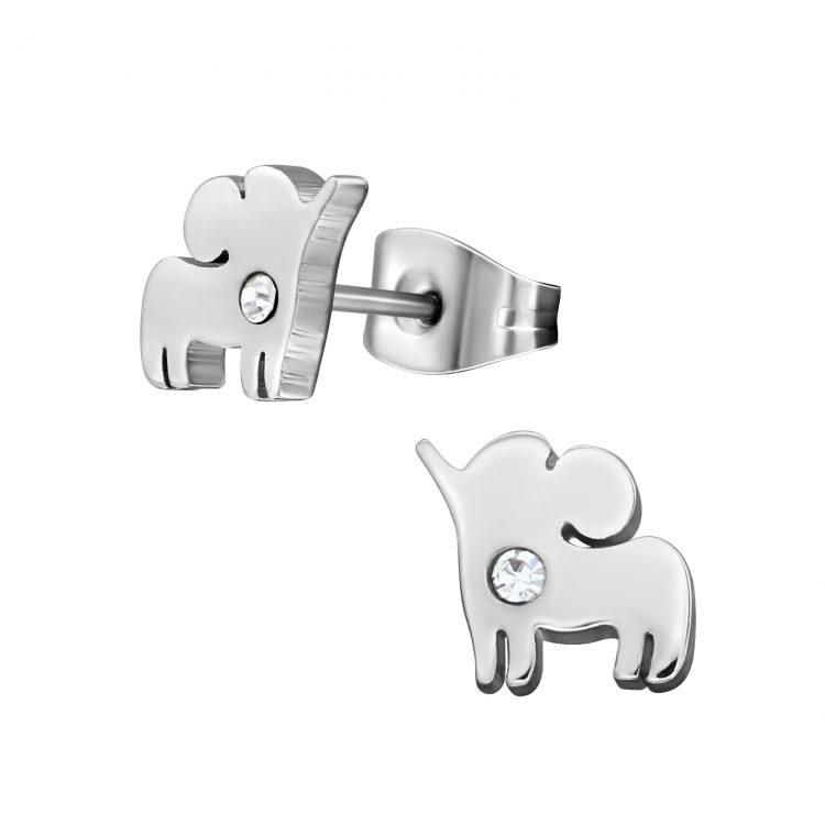 RVS oorbellen -zilverkleurige olifant   chirurgisch staal