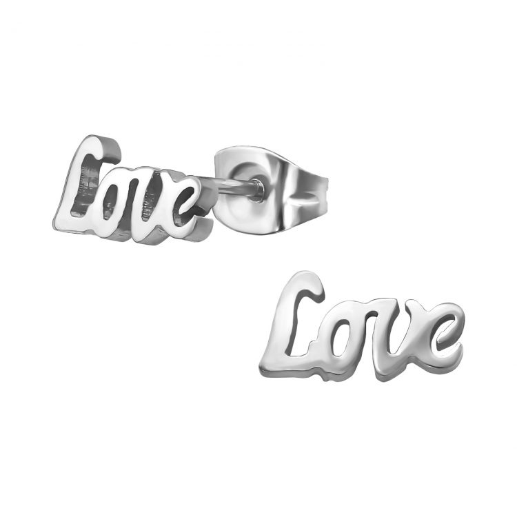 RVS oorbellen Love zilverkleurig