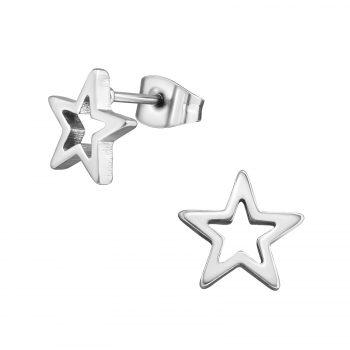 RVS oorbellen-open zilverkleurige open ster