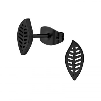 RVS oorbellen blad - zwart