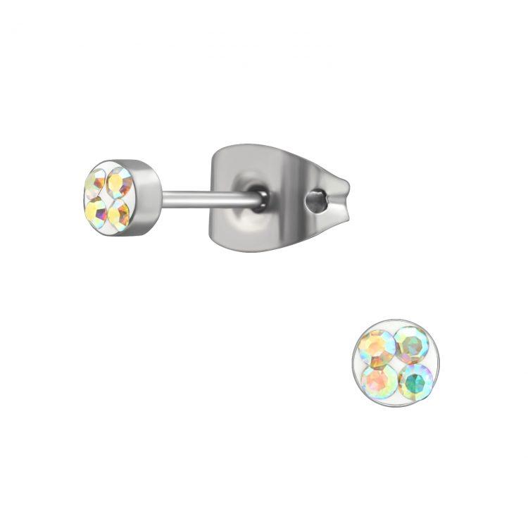 RVS oorbellen-zilverkleurig AB crystal
