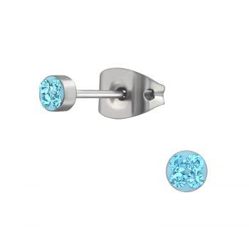 RVS oorbellen-zilverkleurig aqua