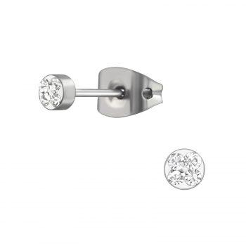 RVS oorbellen-zilverkleurig crystal