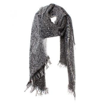 Biba sjaal geweven zwart gemêleerd langwerpig