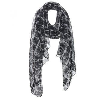 Biba sjaal zwart witte langwerpige sjaal met print