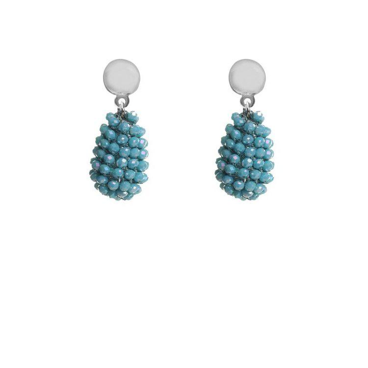 Biba oorbellen aqua blauw druppel kralen