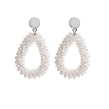 Biba oorbellen wit drops beads