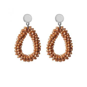 Biba oorbellen geel-bruine drops beads