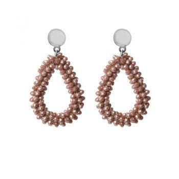Biba oorbellen beige-bruine drops beads