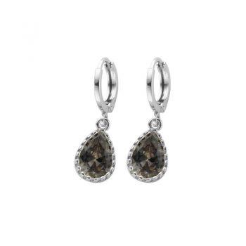 Biba zilverkleurige oorringen black diamond met crystal hanger