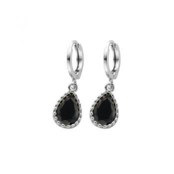 Biba zilverkleurige oorringen zwart met crystal hanger
