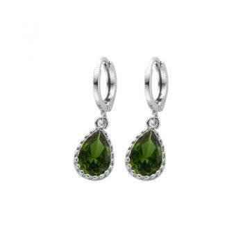 Biba zilverkleurige oorringen groen met crystal hanger