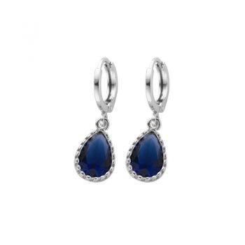 Biba zilverkleurige oorringen blauw met crystal hanger