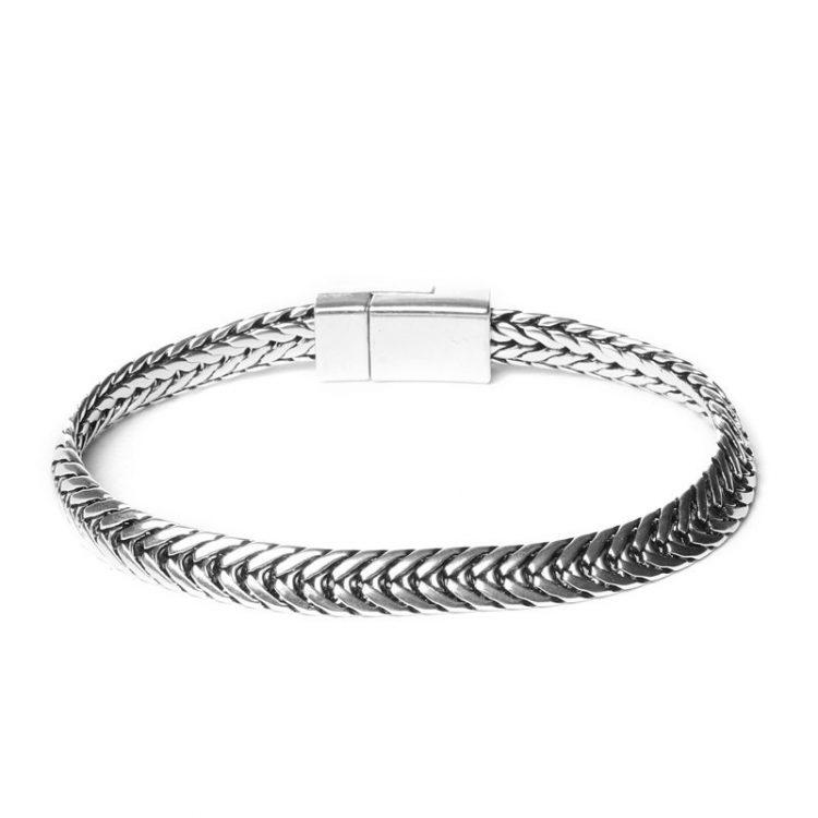 Biba chain antiek armband zilverkleurig 19,5 cm achter
