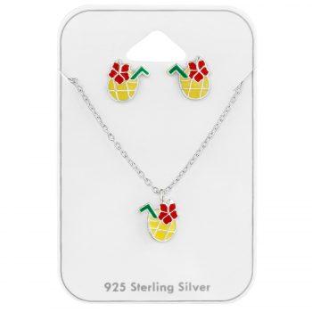Zilveren kindersieraden set ananas