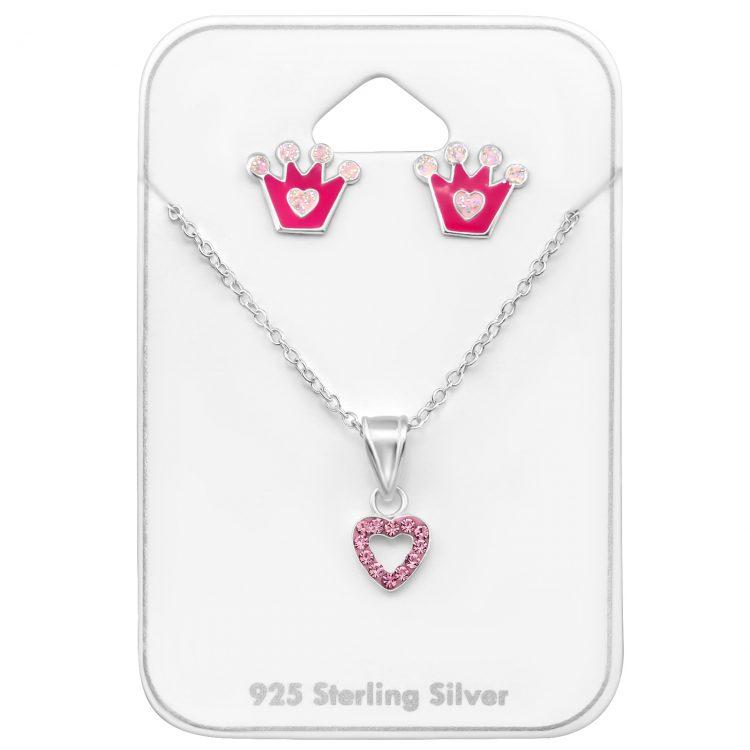 Zilveren kindersieraden set kroontje-hartjes