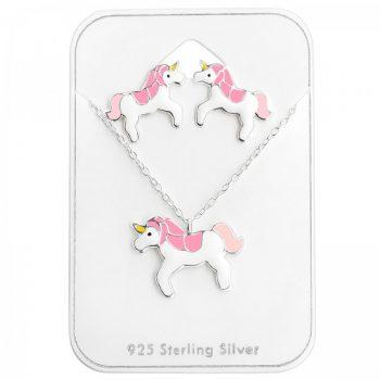 Zilveren kindersieraden set eenhoorn