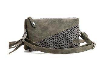 Klein tasje met panterprint vachtje donker grijs voorkant