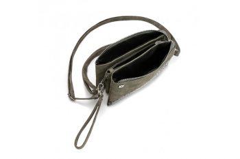 Klein tasje met panterprint vachtje donker grijs binnenkant