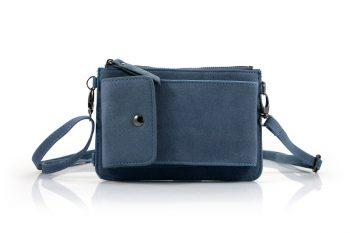 Telefoontasje grijs blauw met extra vakjes