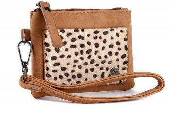 Klein zak portemonneetje met panter vachtje camel