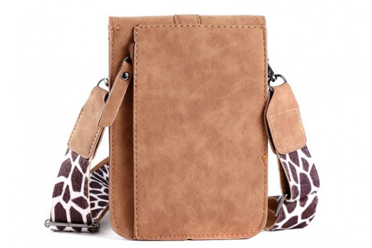 Klein tasje met giraffe vachtje bruin achterkant