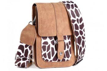 Klein tasje met giraffe vachtje bruin voorkant