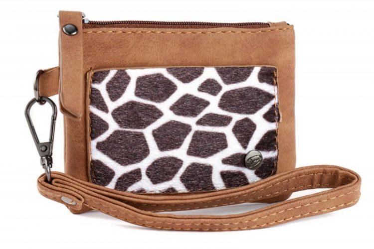 Klein zak portemonneetje met giraffe vachtje camel