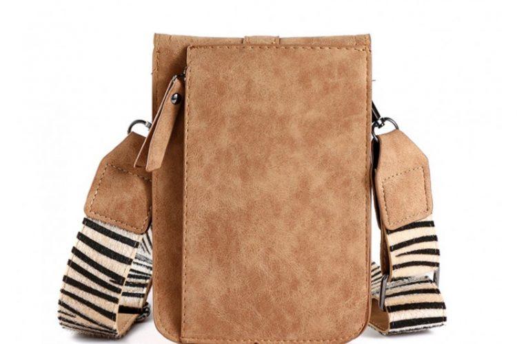 Klein tasje met zebra vachtje bruin achterkant