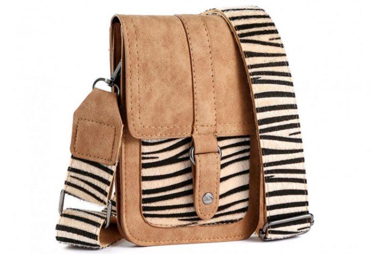 Klein tasje met zebra vachtje bruin voorkant
