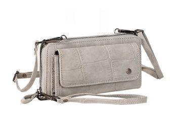 Grote grijze portemonnee met pols en schouderband voorkant